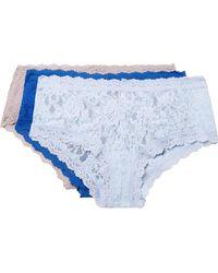 Hanky Panky - Signature Set Of Three Stretch-lace Boy Shorts - Lyst