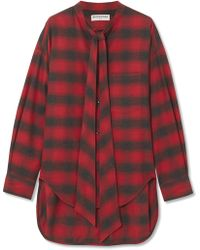 Balenciaga | Swing Oversized Printed Checked Cotton-flannel Shirt | Lyst