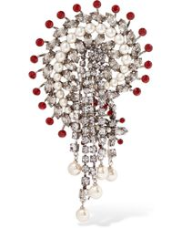 Etro - Silver-plated, Crystal And Faux Pearl Brooch - Lyst