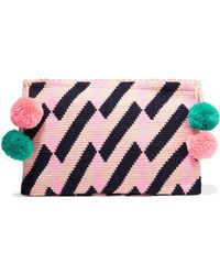 Sophie Anderson - Lia Pompom-embellished Woven Clutch - Lyst