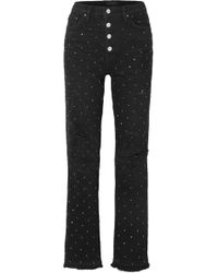 Amiri - Crystal-embellished Distressed High-rise Straight-leg Jeans - Lyst