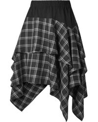 Opening Ceremony - Ruffled Cotton-paneled Plaid Brushed-twill Skirt - Lyst