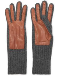 Burberry - Ribbed Cashmere And Leather Gloves - Lyst