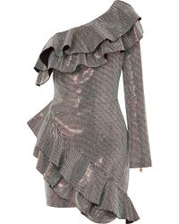 Balmain - One-shoulder Ruffled Crystal-embellished Crepe Mini Dress - Lyst