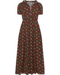 ALEXACHUNG - Hooded Floral-print Crepe Maxi Dress - Lyst