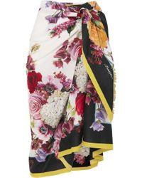 Dolce & Gabbana - Pareo Aus Baumwoll-voile Mit Blumenprint - Lyst