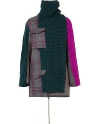 Sacai - Oversized Checked Wool-blend, Knitted Wool And Shell Jacket - Lyst