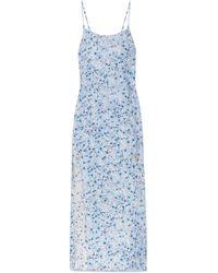 Paloma Blue - Murano Floral-print Silk-satin Midi Dress - Lyst