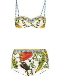 Dolce & Gabbana - Printed Bandeau Bikini - Lyst