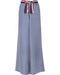 Paper London | Cord-trimmed Striped Silk-twill Wide-leg Trousers | Lyst