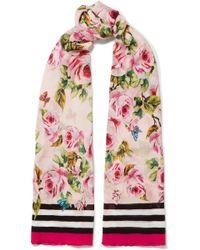Dolce & Gabbana - Floral-print Silk-chiffon Scarf - Lyst