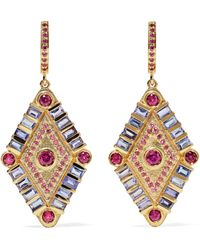 Marlo Laz - Shaman's Eye 14-karat Gold, Tanzanite And Garnet Earrings - Lyst