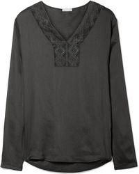 Hanro - Liane Lace-trimmed Gauze Pajama Top - Lyst