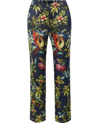 F.R.S For Restless Sleepers - Tartaro Printed Hammered-silk Straight-leg Trousers - Lyst