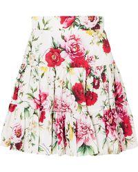 Dolce & Gabbana - Floral-print Cotton Mini Skirt - Lyst