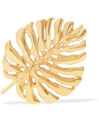 Oscar de la Renta - Monstera Leaf Gold-plated Brooch - Lyst