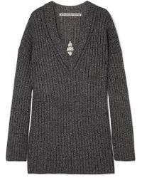 Alexander Wang Dream Catcher Embellished Cutout Ribbed Wool-blend Sweater