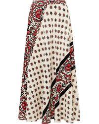 RED Valentino - Printed Silk Midi Skirt - Lyst