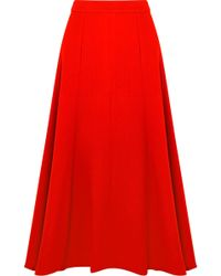 Emilia Wickstead - Ruth Wool-crepe Midi Skirt - Lyst