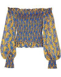 Caroline Constas - Damaris Off-the-shoulder Shirred Printed Silk-chiffon Top - Lyst