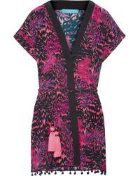 Matthew Williamson - Pompom-trimmed Printed Silk Crepe De Chine Kimono - Lyst