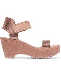 Pedro Garcia - Franses Metallic Leather Wedge Sandals - Lyst