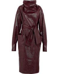 Wanda Nylon | Textured-vinyl Funnelneck Midi Dress | Lyst