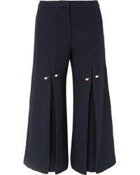 Mother Of Pearl - Bennie Faux Pearl-embellished Pleated Cotton-tweed Wide-leg Trousers - Lyst