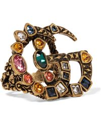 Gucci - Gold-tone Crystal Ring - Lyst