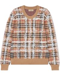 Burberry - Printed Checked Merino Wool Jumper - Lyst