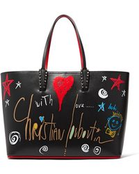 Christian Louboutin | Cabata Spiked Printed Leather Tote | Lyst
