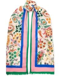 Etro - Frayed Printed Cashmere Scarf - Lyst