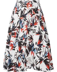 Jason Wu - Pleated Printed Cotton-poplin Skirt - Lyst