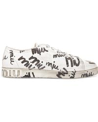 Miu Miu - Logo-print Cracked-leather Sneakers - Lyst
