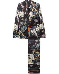 Meng - Floral-print Silk-satin Pajama Set - Lyst