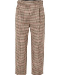 Monse - Cropped Pleated Checked Wool-blend Tapered Trousers - Lyst