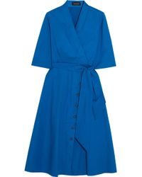 Saloni - Mae-b Wrap-effect Cotton-blend Poplin Midi Dress - Lyst