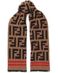 Fendi - Wool And Silk-blend Jacquard Scarf - Lyst