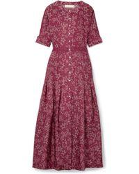 Paloma Blue - Luna Lace-trimmed Printed Silk Dress - Lyst