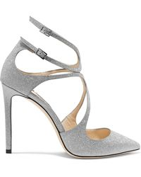Jimmy Choo - Lancer 100 Glittered Leather Court Shoes - Lyst