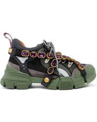 Gucci - Flashtrek Embellished Logo-embossed Mesh, Leather And Suede Sneakers - Lyst