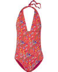 Etro - Printed Halterneck Swimsuit - Lyst