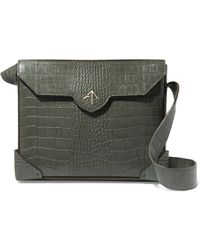 MANU Atelier - Bold Large Croc-effect Leather Shoulder Bag - Lyst