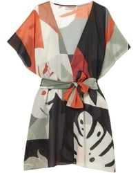 Adriana Degreas - Printed Cotton-voile Robe - Lyst