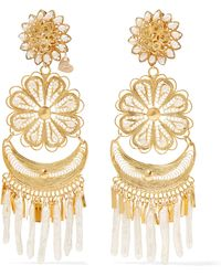 Mercedes Salazar - Fiesta Tasseled Gold-plated Pearl Clip Earrings - Lyst