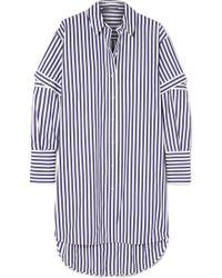 Alexander McQueen - Oversized Cutout Striped Cotton-poplin Shirt - Lyst