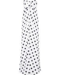 Caroline Constas - Kaia Knotted Polka-dot Cotton-blend Poplin Maxi Dress - Lyst