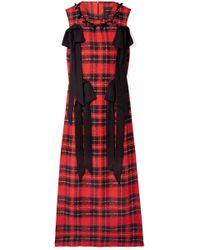 Simone Rocha - Embellished Crepe-trimmed Tartan Georgette Midi Dress - Lyst