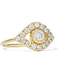 Sydney Evan - Evil Eye 14-karat Gold Diamond Ring Gold 7 - Lyst