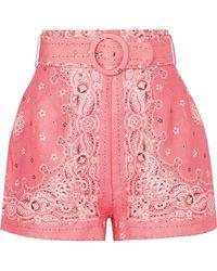 Zimmermann - Printed Belted Linen Shorts - Lyst